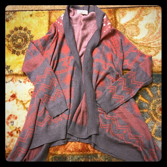 ce7926360ea PINK- long sleeve dressy cardigan red and grey